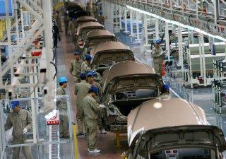 Čínská továrna automobilky Geely v provincii Če-ťiang na jihovýchodě Číny.