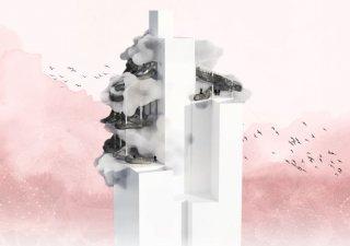 """""""Cloudin není jen experimentální instalací na vrcholku výškové budovy. Je to také pohybový a vizuální prožitek s hlavou mezi oblaky,"""" popisují autoři mlhu."""