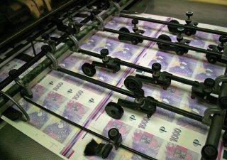 Tisk tisícikorunových bankovek v tiskárně cenin