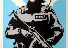 Banksyho obraz Flying Copper