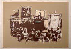 Banksyho obraz Morons je kritikou světa umění. Cenovka? 3,5 milionu korun.