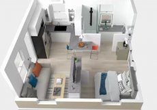 Jednotka má dispozici o 34 metrech čtverečních.